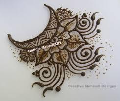 creative moon flower patch eid special henna mehndi design