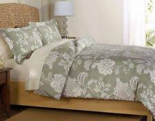 jardin queen duvet cover 3pc set floral pattern sage green veratex