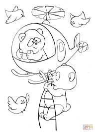two pandas fly a helicopter with birds in the sky coloring page