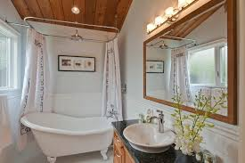 bathroom wood ceiling ideas clawfoot tub shower curtain ideas bathroom transitional with wood