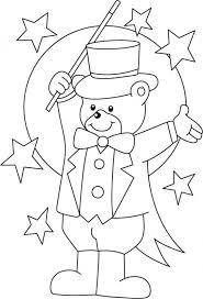 teddy bear magician printable circus coloring pages fun
