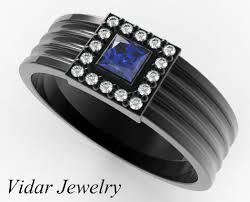 mens princess cut diamonds wedding ring vidar jewelry unique princess cut sapphire black gold wedding band for vidar