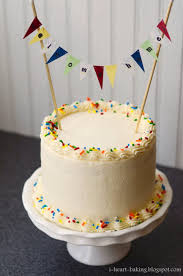 funfetti welcome home cake with handmade bunting cakecentral com