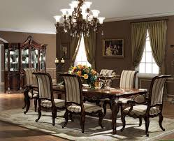 modern formal dining room dark brown varnish long wooden dining