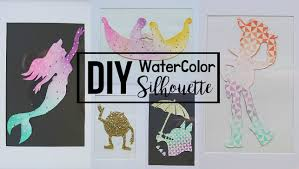 diy easy disney ombre watercolor silhouette wall decor for