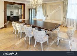 classic interior dining room brown white stock photo 579085126 classic interior of dining room in brown white beige colors with crystal chandelier