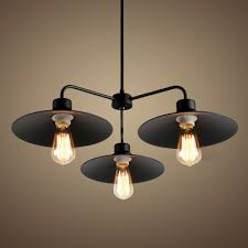 industrial style 3 light chandelier with metal shade