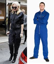 blue mechanic jumpsuit who wore it better gwen stefani or this stock photo mechanic