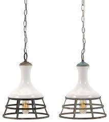 Metal Pendant Lights Sandra Ceramic And Metal Pendant Lights Set Of 2 Farmhouse
