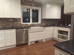 kitchen brick backsplash ideas red veneer tile thin pictures peel