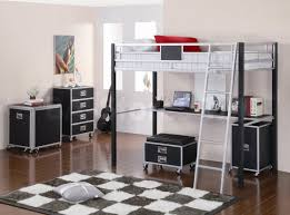 bedroom white wood loft bed for teens features wardrobe and
