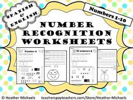 1 10 number recognition worksheets in english and spanish perfect