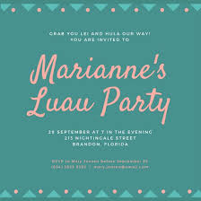 Costumes Party Invitation Wording Festival Collections Best 25 Luau Invitation Templates Canva