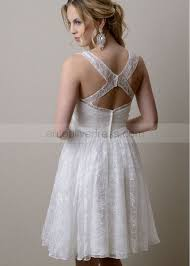 straps knee length white beaded lace prom dress