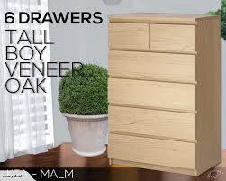 Oak Veneer Bedroom Furniture by Ikea Malm 6 Drawers Tall Boy Chest Drawers Bedroom Furniture