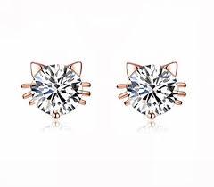 cat stud earrings birthday gift 18k gold plated austrian swarovski zircon