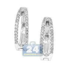 white gold diamond hoop earrings 14k white gold 0 44 ct diamond openwork hoop earrings 11 16 inches