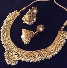 bridal necklace set pearl images Bridal jewellery set faux pearl adiva copper necklace at rs 1449 jpg