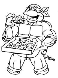 ninja turtle coloring pages eat pizza coloringstar