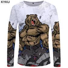Flag Clothing Kyku Brand Bear Long Sleeve T Shirt Crown Tees Flag Clothing