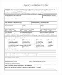 sample physical exam form templates