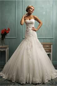 fit and flare wedding dress and flare trumpet strapless corset ivory lace wedding dress with sash