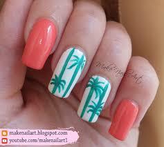 make nail art summer palm tree nail art design tutorial