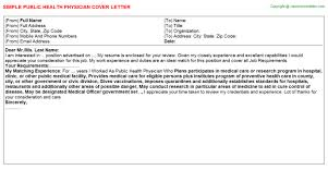 public health physician cover letter