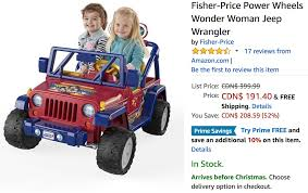 power wheels jeep barbie amazon canada holiday deals save 52 on fisher price power wheels