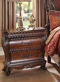 dorothea marble top nightstand in cherry finish by acme 20593