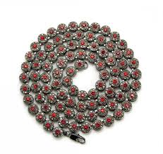 red big necklace images Exquisite mens hip hop cluster iced out chain necklace black red jpg