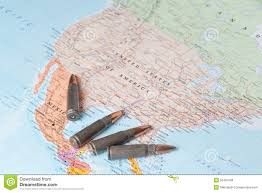 The Map Of United States by Bullets On The Map Of United States Of America Stock Photo Image