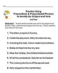 preposition worksheets prepositional phrase worksheet download