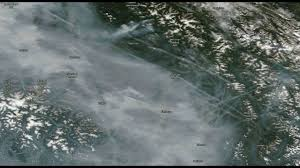Wildfire Bc Status Map by B C Wildfire Progression Satellite Imagery Of The Smoke 7 28 8