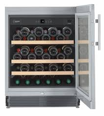 Stainless Steel Mini Fridge With Glass Door by Liebherr Integrated Built Under Wine Cabinet In Stainless Steel
