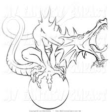 clip art of a black and white tough guardian dragon roaring while
