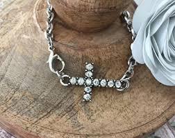silver cross bracelet charm images Christian bracelets etsy jpg