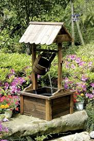 wishing well wood outdoor patio water with water