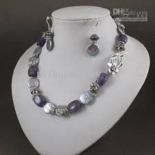 elegant white pearl necklace images 2018 elegant jewelry set purple amethyst silver gray coin pearl jpg
