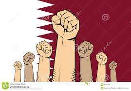 Qatars Flag Qatar Protest With Hand Fist With Qatar Flag As Background Stock