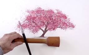 watercolor technique to splatter cherry blossom trees