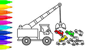 learn colors with car and crane truck coloring pages fun coloring