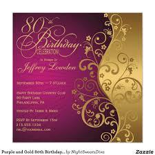 Birthday Invitation Card Sample Wording Purple And Gold 80th Birthday Party Invitation 80 Birthday