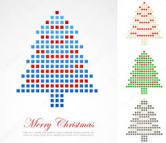 christmas background with pixel christmas tree u2014 stock vector