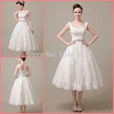 wedding dress pendek custom 2015 lace mid calf lace wedding dress