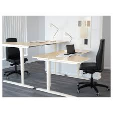 White Corner Writing Desk by Bekant Corner Desk Right Sit Stand Birch Veneer White 160x110 Cm