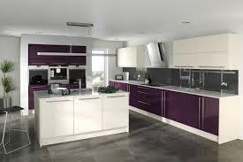 cuisine des aubergines cuisine moderne avec îlot central et armoires blanches et couleur