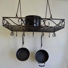 kitchen pot racks with lights amazon com j u0026j wire pot and pan rack bronze kitchen pot racks