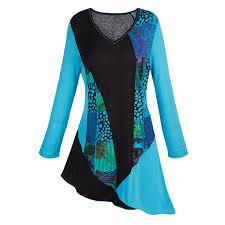 catalog classics s tunic top blue and black flowers shirt