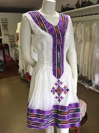 Purple Tilet Special Occasion Habesha Dress Kemis